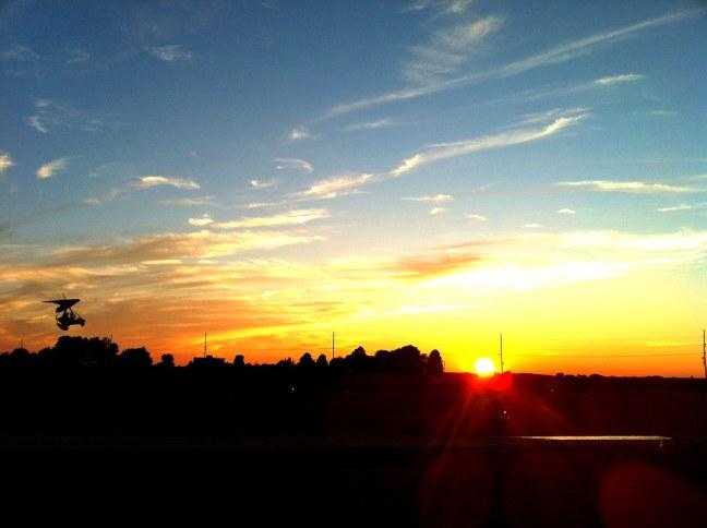 Trike landing at sunset