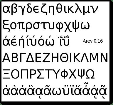 Στιγμιότυπο οθόνης με την Arev 0.16 και ελληνικά