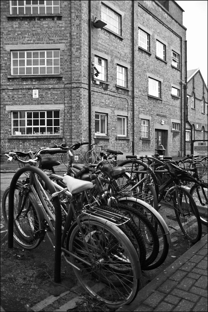 Parked bicycles