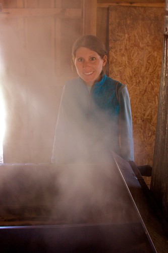 Melissa in front of the evaporator