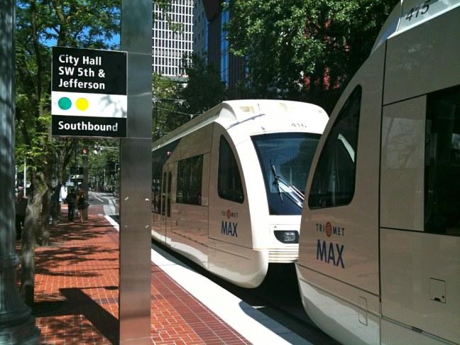 Portland's very sleek public transportation system, TriMet.