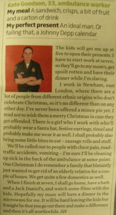 Kate's newspaper bit
