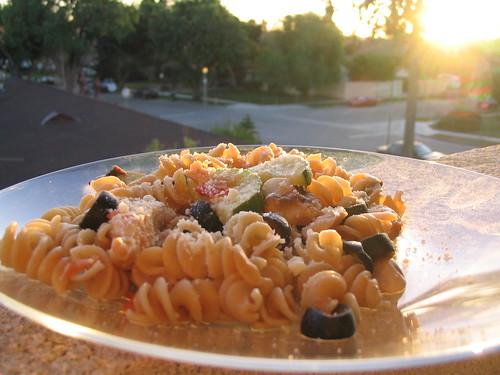 One pot pasta at sunset