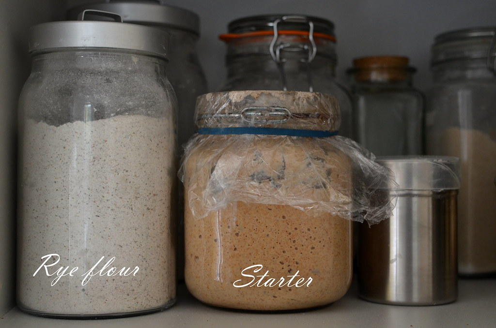 Rye flour and starter