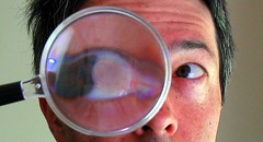 big eye through a magnifying glass