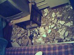 Rubble on the bedroom floor