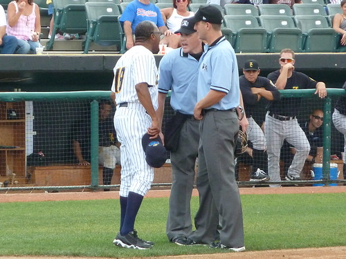 Trenton Thunder manager Tony Franklin continues to argue even after his third-inning ejection.
