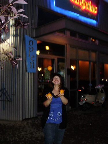 Juggling in front of Wild Tangerine