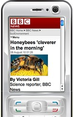 Honeybee story as displayed on mobile device