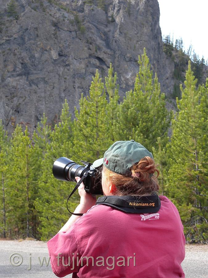 Sherri Shoots A Rock Face