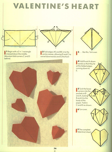 Instructions to make origami hearts...