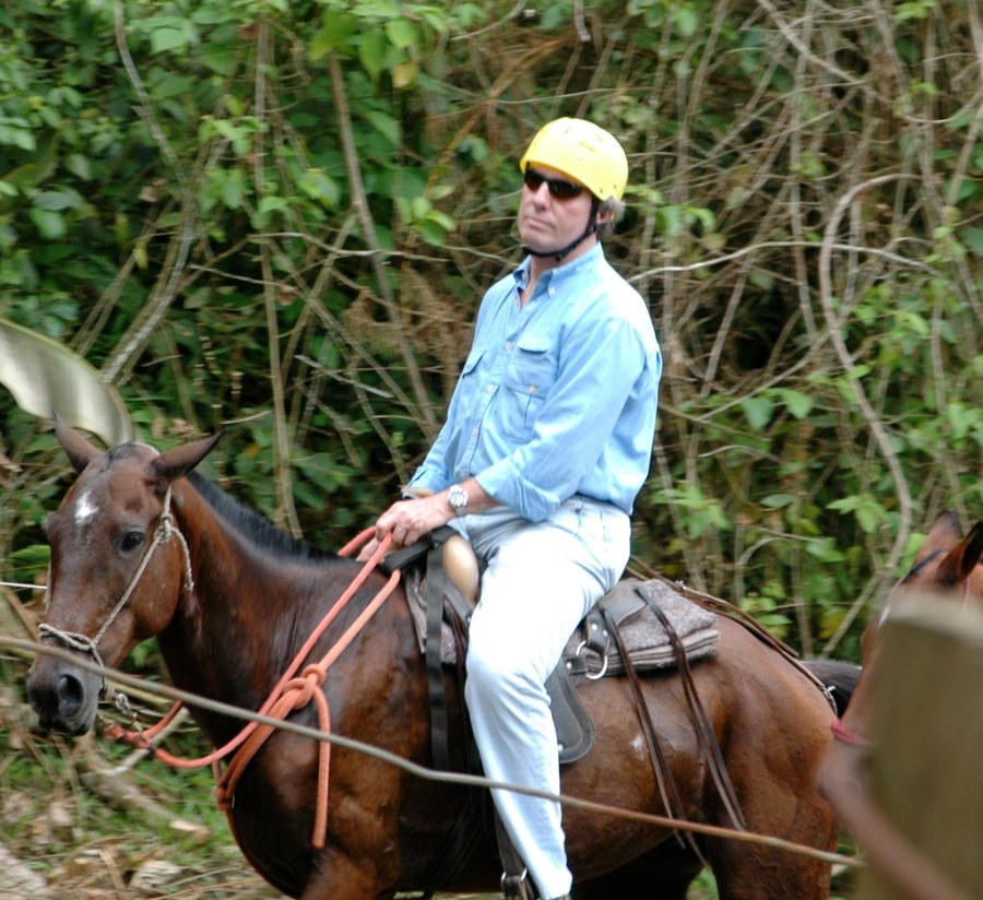 Dad not thrilled on horseback