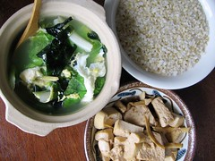 tofu, rice, vegetable and egg soup