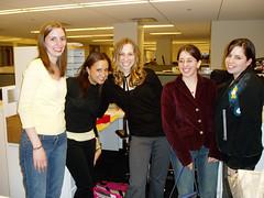 Tammy Tibbetts, Sharon Clott (EOC Syracuse VP), Jessica Girdwain (EOC Syracuse President), Candida DeFonseca, Diana (JANE intern from NYU)