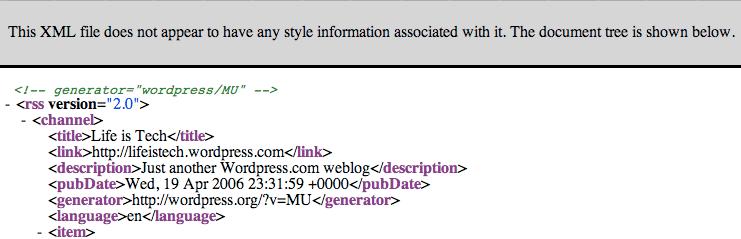 XML from my Feed