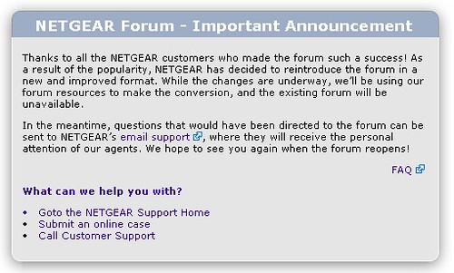 Netgear forum: so long and thanks for all the fish