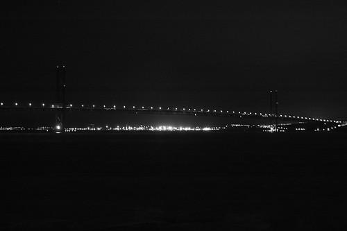 Forth Road Bridge at Night - B&W