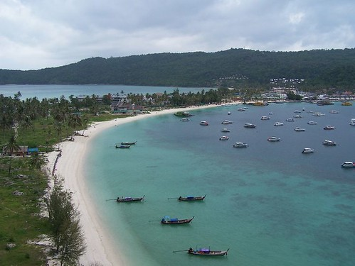 The beach at Phi Phi Don, seen from a climb