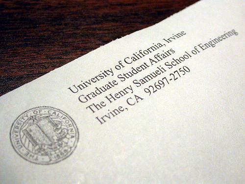 終於收到一封UCI的實體郵件