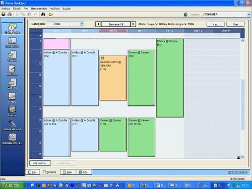 Palm Desktop. Vista semanal