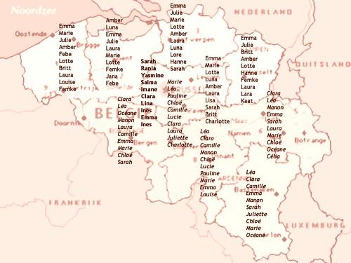 Meisjesnamen in Belgie 2004