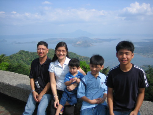 Posing with the Taal Volcano and Lake