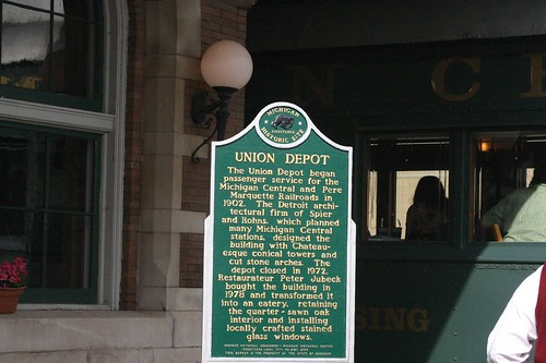 Union Depot Michigan Historical Marker at Clara's Restaurant