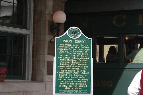 Union Depot Michigan Historical Marker at Clara's Restaurant