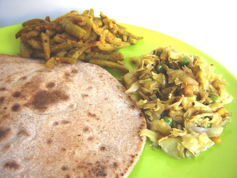 Chapathis with cabbage-peas curry and tindora fry