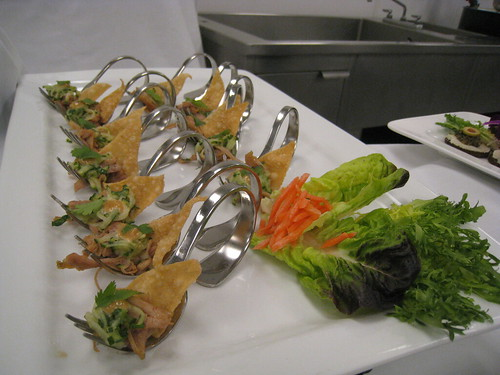 Barbequed duck with hoisin mayonnaise and wonton cup