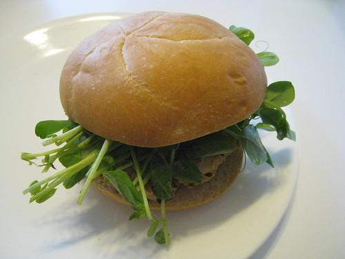 Turkey Burger with Pea Tendrils
