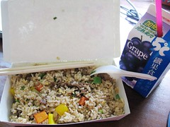 beef fried rice and grape juice