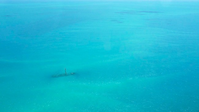 View of shipwreck from above