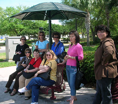 Our team posed at one of the shuttle stops.