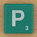 Scrabble White Letter on Green P