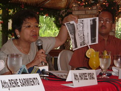 AKBAYAN Rep. Etta Rosales during a Quezon City presscon