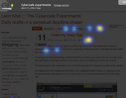 Screenshot of my Crazy Egg webpage activity data