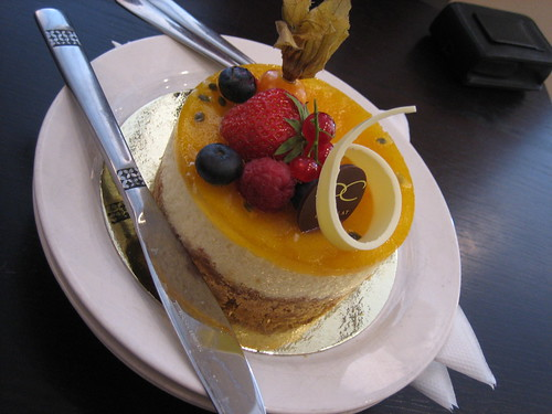 Passion fruit, white chocolate cheesecake