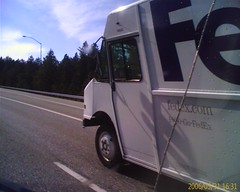 FedEx truck on route 90