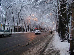 winter night in Tehran Vali Asr Avenue