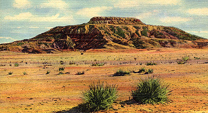An image of Tucumcari Mountain from an old postcard.