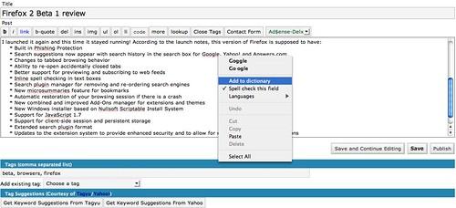 Firefox' built-in spell check