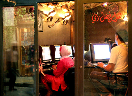 People in internet cafe in Damascus Oct 7 2005