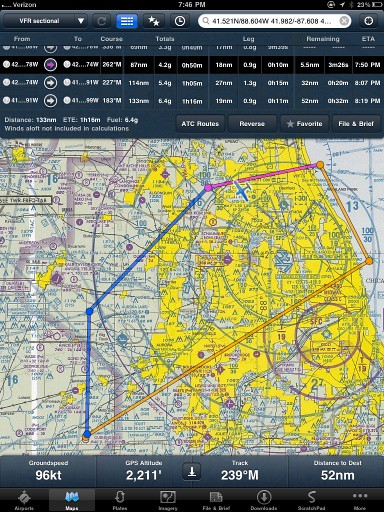 My electronic version of traditional paper aeronautical charts