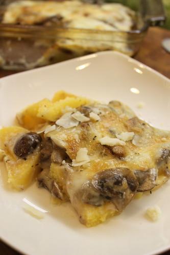 Polenta Gratin w/ Mushrooms & Fontina