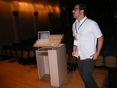 Day One: Jason Santa Maria onstage an hour before the show starts.