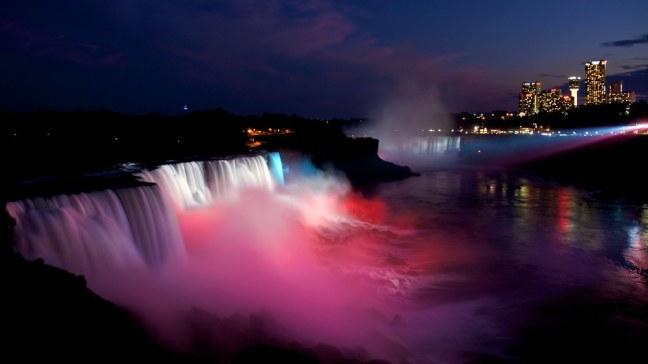 Red-White-Blue Lighted Niagara Falls at Night
