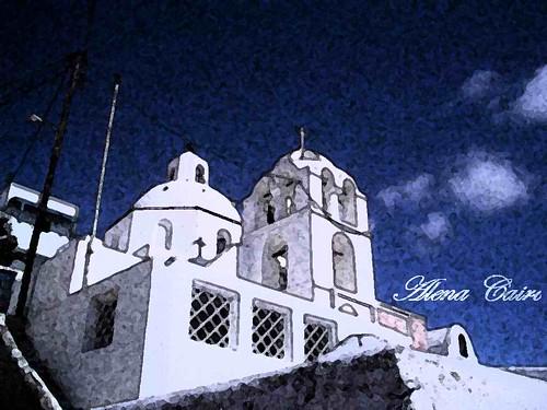 Eu brincando com a foto de Santorini