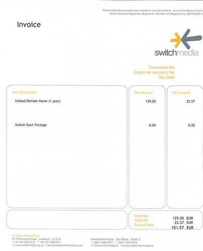 SwitchMedia's invoice
