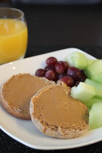 English Muffin, Peanut Butter, Fruit, OJ